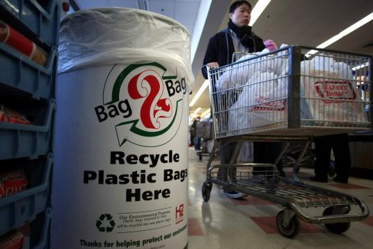 Market Basket on Somerville Avenue had plastic-bag recycling bins for more than a year before the city's new requirement.