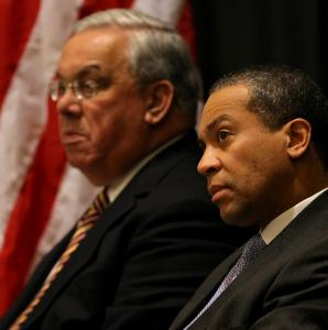 ''We have tough choices among miserable options,'' Governor Deval Patrick (with Mayor Thomas M. Menino) said yesterday as he announced plans to cut local aid.