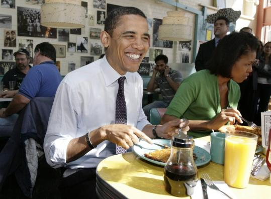 While campaigning in Pittsburgh, then-Senator Barack Obama, and his wife, Michelle, ate at Pamela's diner last year. Some chefs hope Obama's love for eating out will influence a national policy that fosters more nutritious food.