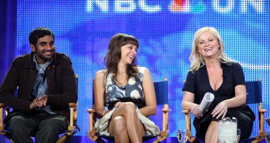 Aziz Ansari (left), Rashida Jones (center), and Amy Poehler