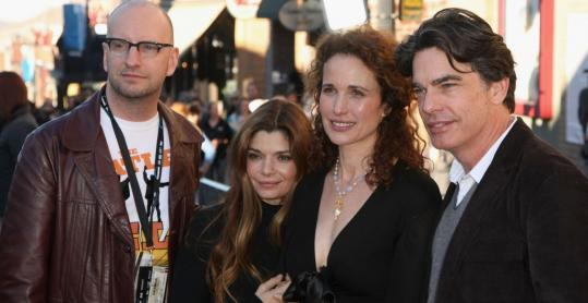 From left, director Steven Soderbergh of 1989's ''Sex, Lies, and Videotape,'' with actors Laura San Giacomo, Andie MacDowell, and Peter Gallagher at this year's Sundance Film Festival.