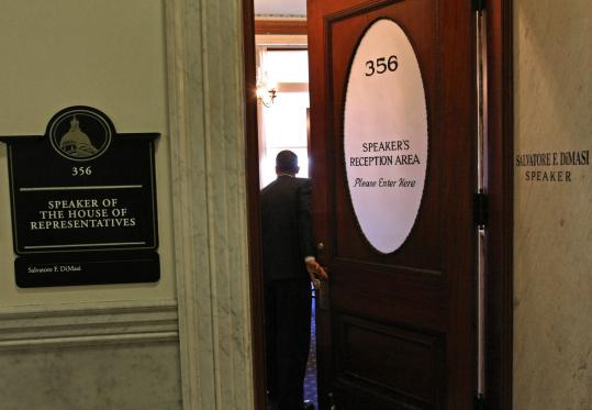 At the State House yesterday, visitors popped in and out of the speaker's office.