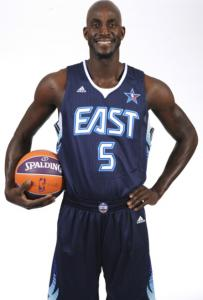 The Celtics' Kevin Garnett models the new All-Star Game uniform.
