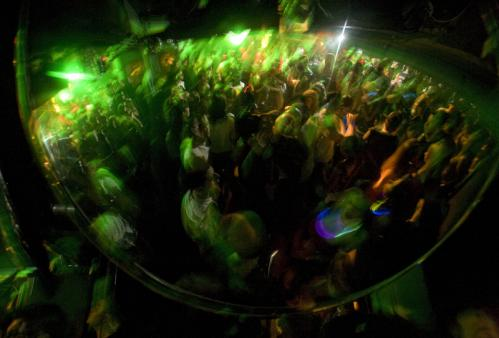 A view of RISE's dancefloor in a convex mirror. More info on RISE SUBMIT Your nightlife photos! TALK What scene should we visit next?