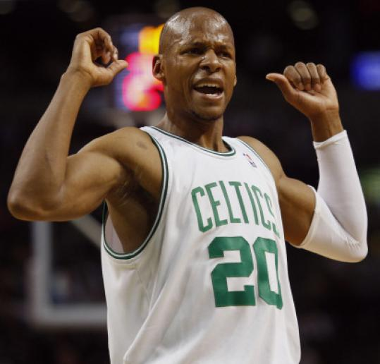 Ray Allen disagrees with a technical on teammate Glen Davis.