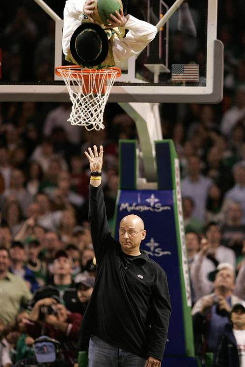 Red Sox manager Terry Francona assisted Lucky during a game against the Atlanta Hawks.