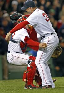 Jason Varitek caught Jon Lester after he no-hit the Royals at Fenway last season.