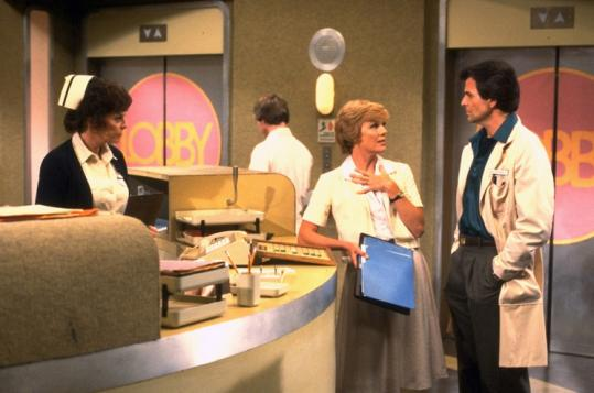 ''General Hospital'' cast members Emily McLaughlin (left), Rachel Ames, and Stuart Damon at the nurses station.