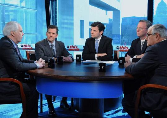 Clockwise from left, FedEx CEO Fred Smith, US Senator Jim DeMint, Republican of South Carolina, George Stephanopoulos, Google CEO Eric Schmidt, and US Representative Barney Frank, Democrat of Massachusetts, on ABC's ''This Week'' yesterday.