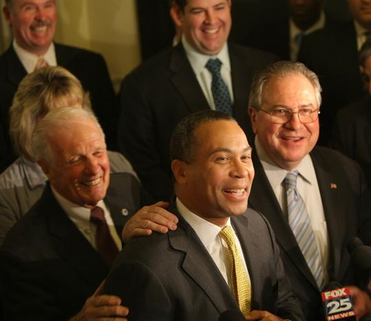 Governor Deval Patrick and House Speaker Robert A DeLeo (right) discussed gambling.