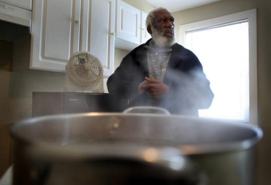 Marcus Johnson heats his home by boiling water and using a fan to circulate steam.