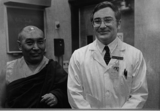 In this archival photo, Dr. Herbert Benson (right) was pictured with the Dalai Lama's personal physician, Dr. Yeshi Dondon.