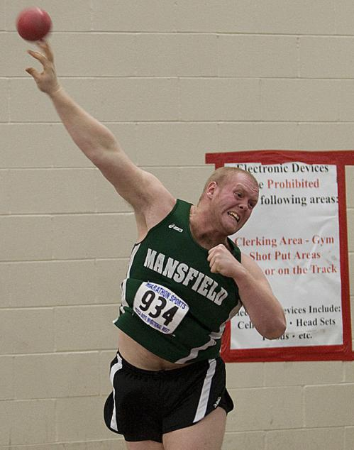 Mansfield senior Dan Glavin won the shot put with his last throw.