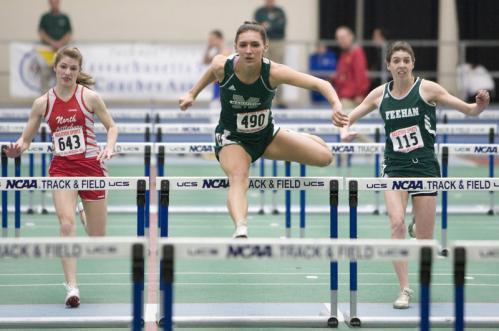 Mansfield's Meghan Ferreira (490) beat North Attleboro's Christy Deininger (643) and Bishop Feehan's Trenna Schmidt (115) to win the 55-meter hurdles.
