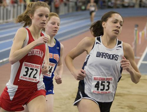 With Hingham's Shauna McNiff (372) and Newton South's Kathy O'Keefe (634) hot on her heels, Lincoln-Sudbury's Ellie Hylton (453) won the 1,000 meters.