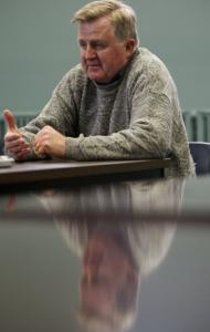 Thomas E. Reilly, president of Winthrop's Town Council, discussed painful budget cuts at a meeting last night.