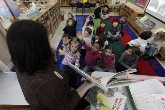 Kindergartners at a Mamaronek, N.Y., school listened last week as their teacher, Connie Levin, instructed them. The children learn about figures from different cultures throughout the year.
