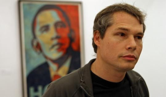 Street artist Shepard Fairey appeared at the Institute of Contemporary Art to promote his show earlier this month.
