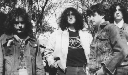 Many consider the definitive Post Mortem lineup to have been (from left) John McCarthy on vocals, John Alexander on guitar, Rick McIver on drums, and Mark Kelley on bass.