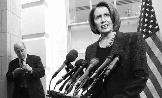 Speaker of the House Nancy Pelosi, at a press conference yesterday, has been accused by Republicans of using procedural tactics to accelerate action on President Obama's economic recovery package.