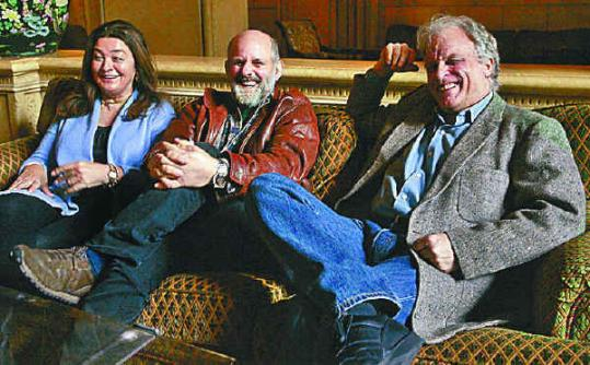 Rounder Records founders, from left, Marion Leighton-Levy, Ken Irwin, and Bill Nowlin were all smiles after their label won the Grammy Awards for album and record of the year Sunday.