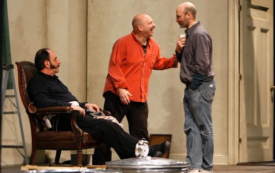 Director Marcus Stern (right) with actors Will LeBow (left) and Thomas Derrah during a recent rehearsal of ''Endgame.''