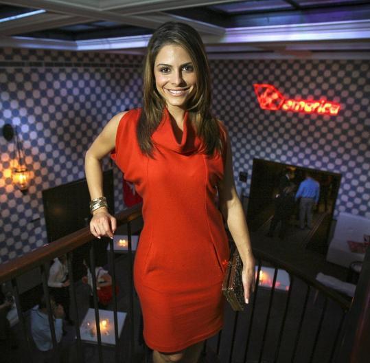 Maria Menounos at the Virgin America party last night at the Liberty Hotel.