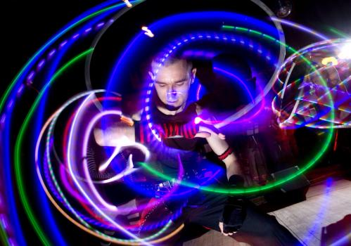 Light, bright: Boston Hoop Troop hooper Ammon Embry-Pelrine showed off his skills. More info on the Milky Way SUBMIT Your nightlife photos! TALK What scene should we visit next?