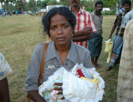 Sashi Kumari Selvarajha is now in government-held Vavuniya District, Sri Lanka, at a crowded camp for the war-displaced.