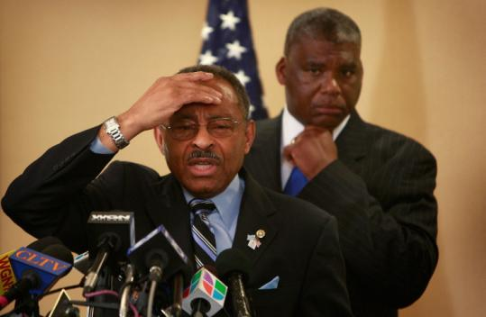 Senator Roland Burris, with his lawyer, Timothy Wright III, said yesterday in Chicago that he did not lie under oath.