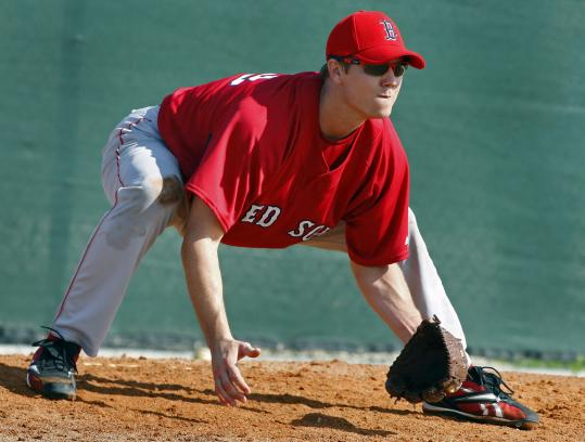 Jonathan Papelbon shows he is just as intense during a spring training fielding drill as he is during a postseason save situation.