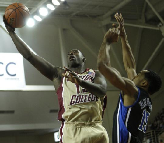 With some up-close looks, such as this first-half layup over Duke's Gerald Henderson, starting guard Rakim Sanders had an efficient game for BC with 14 points on 6-of-8 shooting.
