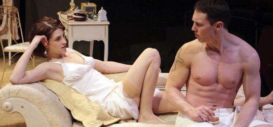 Georgia Lyman as Maggie and Kelby T. Akin as Brick in the Lyric Stage Company production of Tennessee Williams's ''Cat on a Hot Tin Roof.''