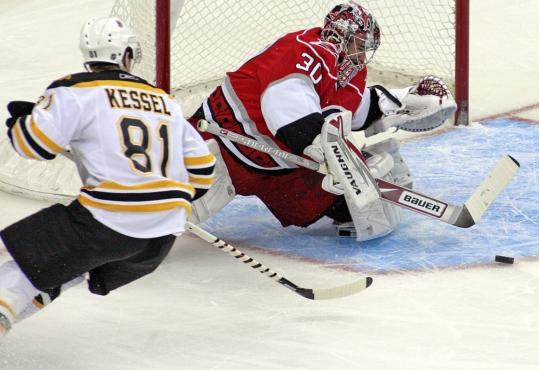 Hurricanes goaltender Cam Ward reaches out to stymie a bid by the Bruins' Phil Kessel.