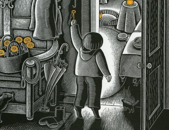An illustration by Beth Krommes from 'The House in the Night.'