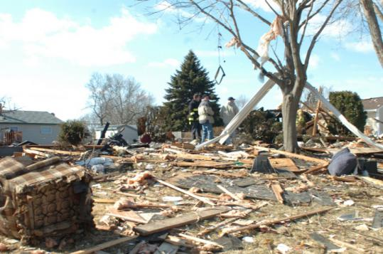The remains of the house on New York Avenue in Somerset that was leveled by a gas explosion Thursday evening.