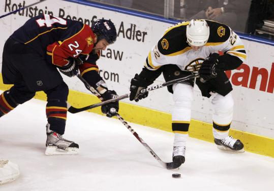 Like many of the Bruins, Shawn Thornton (right) was unable to get good wood on the puck while battling the Panthers.