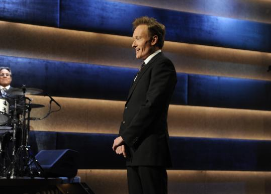 Conan O'Brien during his last ''Late Night'' broadcast on Friday. The show was filled with a medley of best-of clips and a performance from the White Stripes.
