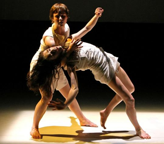Zoe Scofield (bending) and Christiana Axelsen performing in New York earlier this month.
