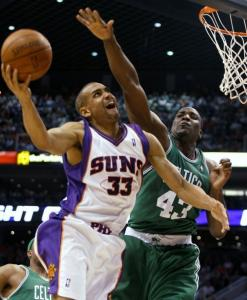 After scoring 140 points in three straight games, Grant Hill and the Suns had a much harder time against the Celtics.