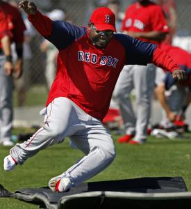The Red Sox would rather see slugger David Ortiz trotting around the bases, but he took off his cleats and worked on baserunning yesterday with teammates.