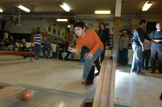 Max Lively of Hudson bowls a set at Sacco's Bowl Haven, which will be the subject of an upcoming episode of ''Ghost Hunters.''