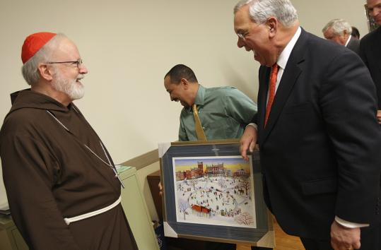 Cardinal Sean P. O'Malley and Mayor Thomas M. Menino at a ceremony at St. Peter's Parish in Dorchester.