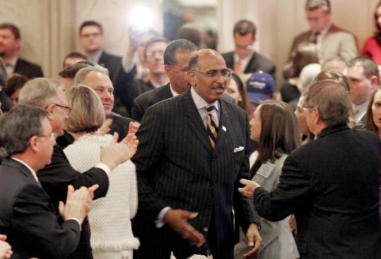 Pablo Martinez Monsivais/Associated PressMichael Steele was congratulated by supporters in Washington after being elected the first black Republican National Committee chairman in late January.