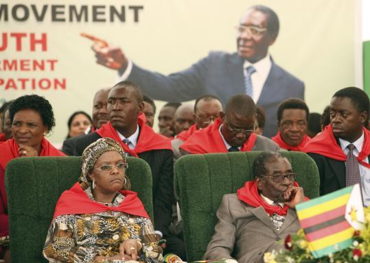 Zimbabwe's president, Robert Mugabe, and his wife, Grace, celebrated his 85th birthday with a lavish party yesterday in Chinhoyi, Zimbabwe.