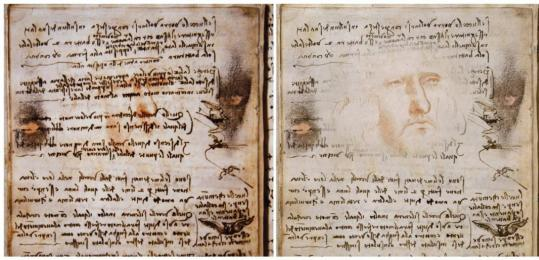 A detail of a page of Leonardo da Vinci's ''Codex on the Flight of Birds'' (left) and a sketch made by RAI's graphic department were released yesterday in this combo picture in Rome.