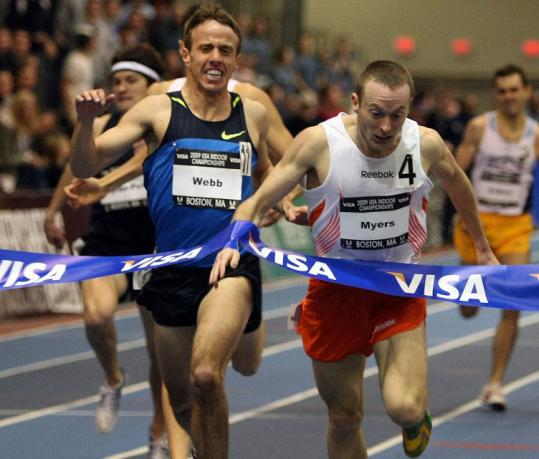 Rob Myers had just enough left at the finish to hold off Alan Webb with a lean to win the men's 1,500 meters by .09 seconds.