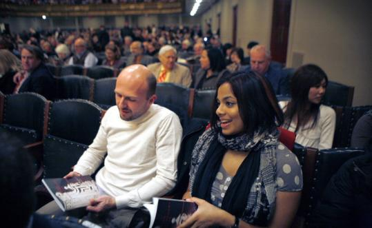Pavel Murnikov (left), 32, and Anouska Bhattacharyya, 24, bought discount tickets to a Boston Symphony Orchestra performance.