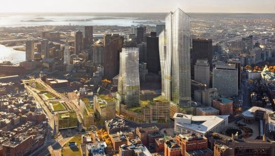 Developer Ted Raymond has proposed two office towers, at 42 stories and 52 stories, on the site of the Government Center Garage, plus lower residential buildings near the Rose Fitzgerald Kennedy Greenway (at left in architects' rendering above).