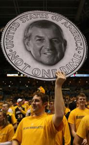 UConn coach Jim Calhoun became an instant target for taunts after he shouted down a reporter's question about his salary.